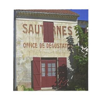 Sauternes Kontor de Degustation (vinavsmakning Anteckningsblock