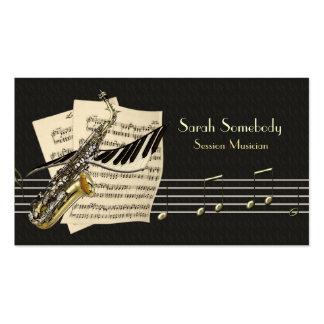 Saxofon- & pianomusik profilerar kortet set av standard visitkort