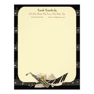 Saxofon- & pianomusikbrevhuvud brevhuvud