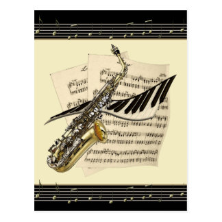 Saxofon- & pianomusikvykort vykort