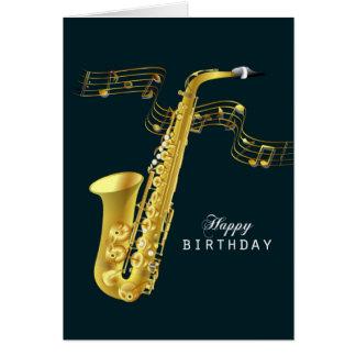 Saxofonmusikgrattis på födelsedagen hälsningskort