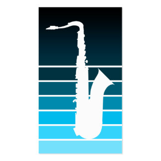 saxofonsilhouette: blått bleknar visitkort mall