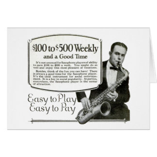 Saxofonvintage annons hälsningskort