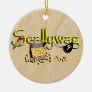 SCALLYWAG-text med piratbröstkorgen & ögat lappar Julgransprydnad Keramik
