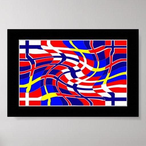 Scandinavy vågigt (den skandinaviska flaggor) print
