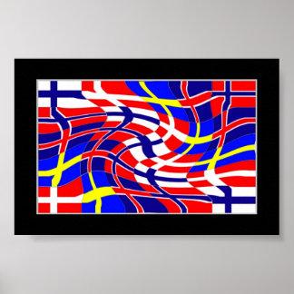 Scandinavy vågigt (det skandinaviska flaggatrycket affisch