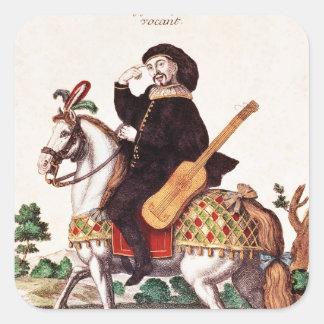 Scaramouche på hästrygg fyrkantigt klistermärke