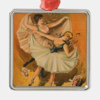 Scenisk affisch för två Ballerinas Julgransprydnad Metall