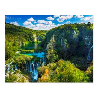 Scenisk elegant vattenfall, Kroatien Vykort
