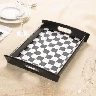 Schacket kvadrerar mönster - svart + din bakgrund frukostbricka
