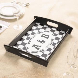 Schacket kvadrerar mönster - svart + din text & frukostbricka