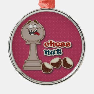Schacket pantsätter, schacknöt och kastanjer julgransprydnad metall