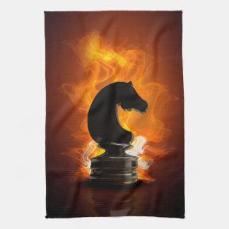 Schackriddaren flammar in kökshandduk