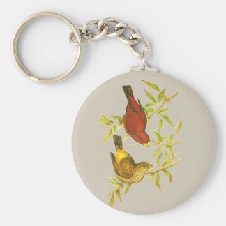 Scharlakansröd Finch Rund Nyckelring