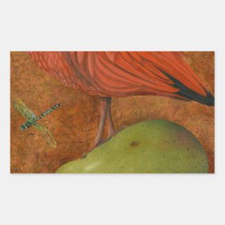 Scharlakansröda Ibis på en Pear Rektangulärt Klistermärke