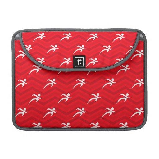 Scharlakansrött rött, vit, sparre, spring sleeve för MacBook pro