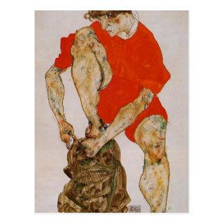 Schiele-Kvinnliga Egon modellerar i röd jacka & Vykort