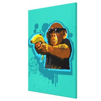 Schimpansinnehav en banan canvastryck