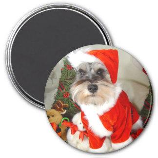 Schnauzer för julX'Mas miniatyr Magnet Rund 7.6 Cm