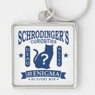 Schrodingers döda eller vid liv Quantum mekaniker Fyrkantig Silverfärgad Nyckelring