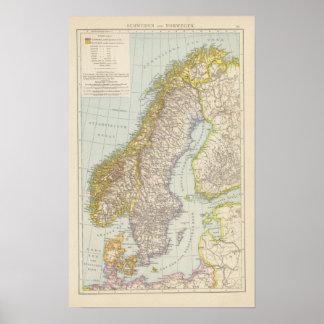 Schweden Norwegen - sverige och norgekarta Poster