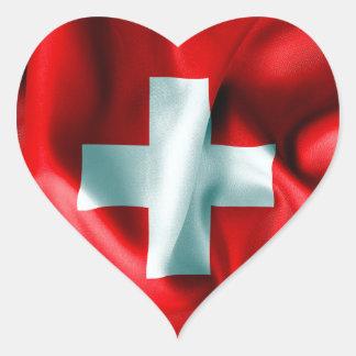 Schweitz flagga hjärtformat klistermärke