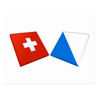 Schweitz och Zurich flaggor Vykort