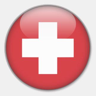 Schweizareflagga - flagga av Schweitz Runt Klistermärke