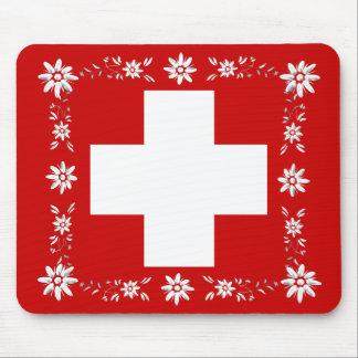 Schweizareflagga och edelweiss 2 musmatta