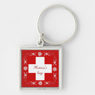 Schweizareflagga och edelweiss fyrkantig silverfärgad nyckelring