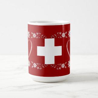 Schweizareflagga och edelweiss kaffemugg