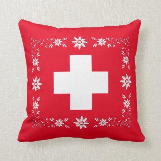 Schweizareflagga och edelweiss kudde