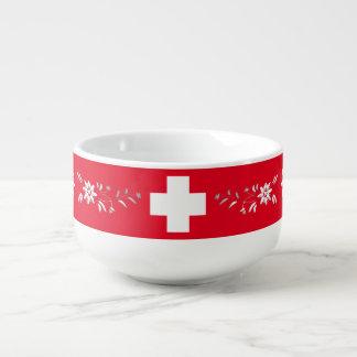 Schweizareflagga och edelweiss soppmugg