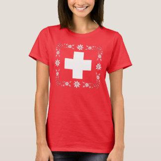 Schweizareflagga och edelweiss tee shirt