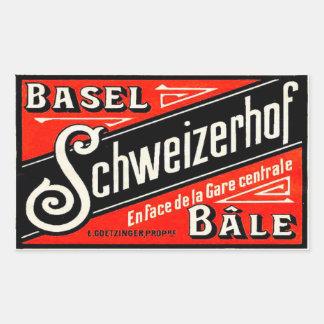 Schweizerhof hotell (Basel Bâle Schweitz) Rektangulärt Klistermärke