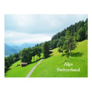 Schweizisk alperna i sommar vykort
