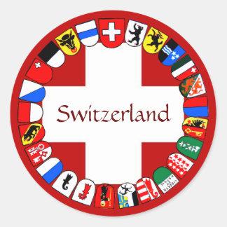 Schweiziska cantons runt klistermärke