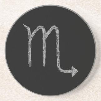 Scorpio. Zodiacastrologi undertecknar. Black. Underlägg Sandsten