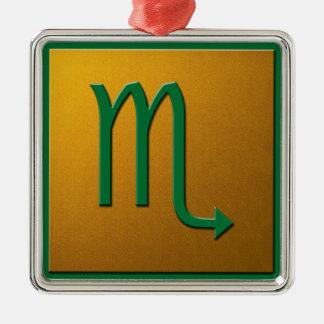 Scorpiogrönt och guld julgransprydnad metall