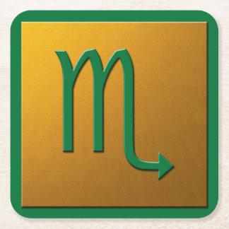 Scorpiogrönt och guld underlägg papper kvadrat
