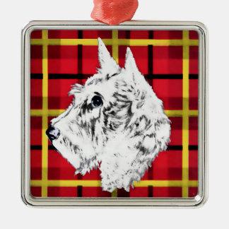 Scottiehund, skotsk Terrierprydnad för vit Julgransprydnad Metall