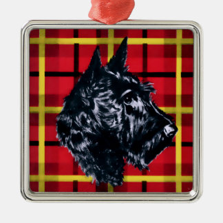 Scottiehund, svart skotsk Terrierprydnad Julgransprydnad Metall