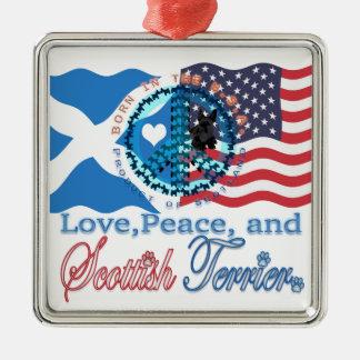 Scottiekärlek, fred och skotsk Terrier Julgransprydnad Metall