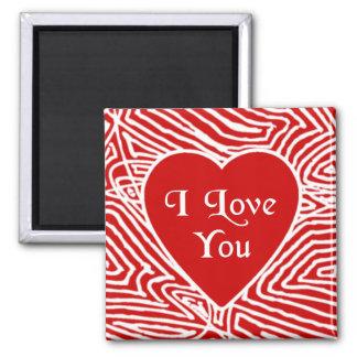 Scribbleprint älskar jag dig hjärta magnet