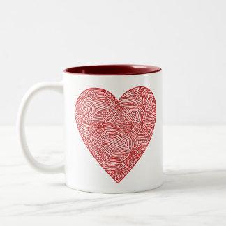 Scribbleprint hjärta Två-Tonad mugg