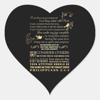 Scriptural bibelVerse - Philippians2:1 - 5 Hjärtformat Klistermärke