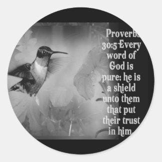 SCRIPTURE för Proverbs30:5BIBEL med hummingbirden Runt Klistermärke