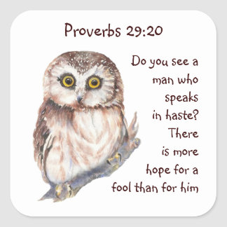 ScriptureProverbs29:20 talar inte i Hasteuggla Fyrkantigt Klistermärke