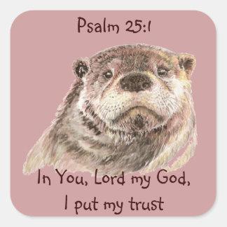 ScripturePsalm25:1, satte jag min gulliga utter Fyrkantigt Klistermärke