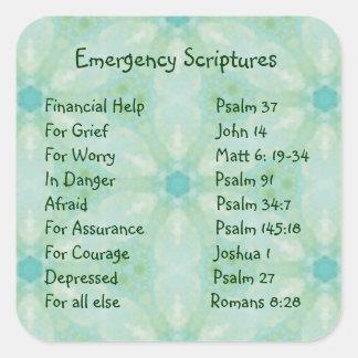 Scriptures för nöd- information för uppmuntran fyrkantigt klistermärke
